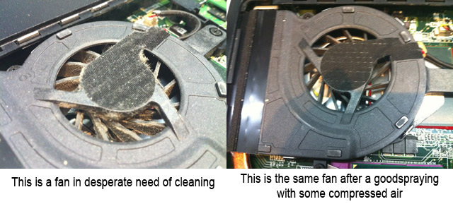 Dirty laptop fan compared to a clean laptop fan